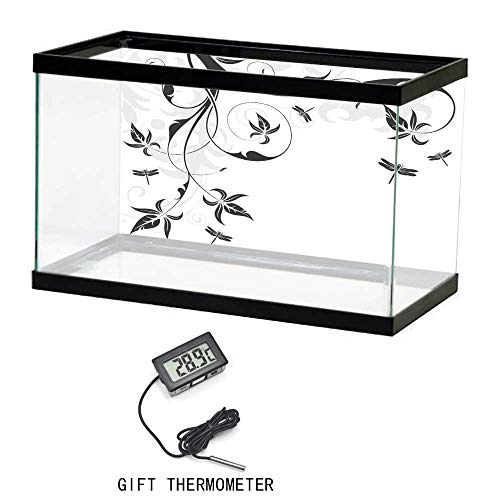 Cusotom Fish Tank Wallpaper, Dragonfly, Swirled Floral Background with Damask Curl Branches and Leaves Print, Light Grey Black White, 35
