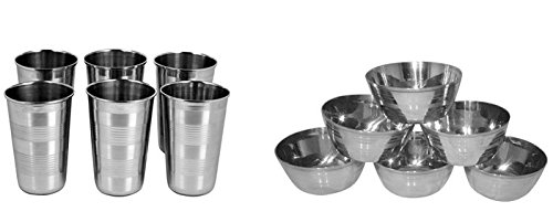 Royal Sapphire Stainless Steel 6 Pcs Glass and 6 Pcs Bowl Set Combo