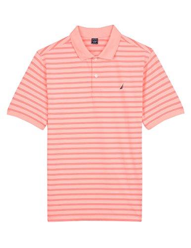 Nautica Boys' Toddler Short Sleeve Striped Performance Polo Shirt, Shore Peach, 2T (Peach Shirt For Boys)