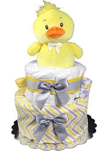 Baby Shower Gift - Diaper Cake for a Boy or Girl - Gender Neutral Ducky Centerpiece