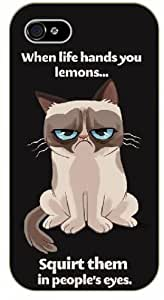 """iPhone 4 / 4s Grumpy cat """"When life hands you lemons... squirt them in people's eyes - NAME - black plastic case / Inspirational and Motivational by icecream design"""