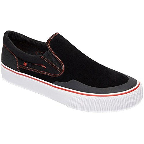 Dc Mens Trase Slip On S Rt Suède Sneakers Zwart / Rood / Wit