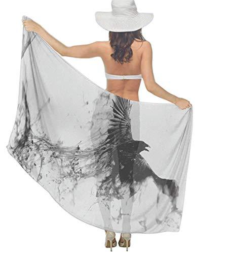 Women's Shawl Black Crow Raven Bird Grey Chiffon Scarf, Elegant Hair Scarf Headband Bandanas, Beach Shawl, Special Occasion Decor - Evening Wedding Party Dress -