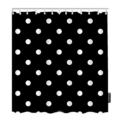 (Moslion Polka Dot Shower Curtains Vintage Black White Spot Doodle Polka Dot Bathroom Shower Curtain Set Home Decorative Waterproof Polyester Fabric with Hooks 72x72 Inch)