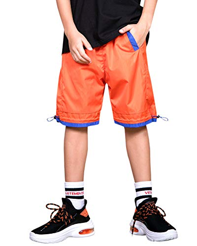 Welity Boys' Girls' Athletic Workout Gym Running Shorts with Pockets, Beach Boardshort for Youth Boys & Girls, Orange, 11-12 Years=Tag 160 by Welity (Image #1)
