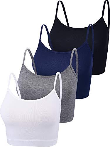 Boao 4 Pieces Spaghetti Strap Tank Cami Crop Tank Top Women Camisole for Yoga Sports Sleeping
