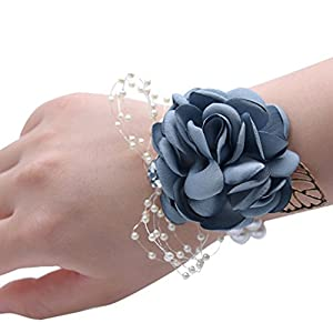 Lisong Bridal Corsage Wristband Bridesmaid Wrist Flower Corsage Flowers for Wedding 3