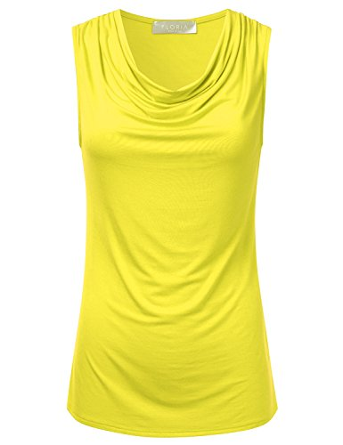 (FLORIA Women's Cowl-Neck Ruched Draped Sleeveless Stretchy Blouse Tank Top Yellow 1XL)