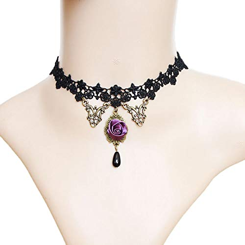 (Rose Noir Women Girls Black lace Choker necklace Earrings Fascinating Accessory Christmas Halloween party (Violet Rose)
