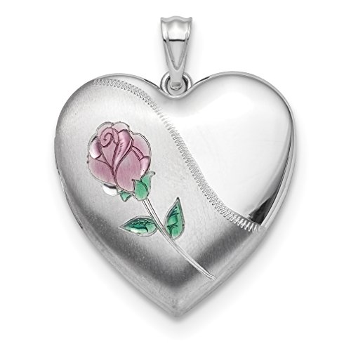 ICE CARATS 925 Sterling Silver 24mm Enameled Rose Photo Pendant Charm Locket Chain Necklace That Holds Pictures Ash Holder Fine Jewelry Gift Set For Women (Enameled Locket)