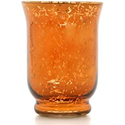 "Hosley Metallic Orange Glass Hurricane Candle Holder, Lantern/Sleeve- 6"" High. Ideal Gift for Wedding, Party Favor, Spa, Home, Bridal, Reiki, Meditation P2"
