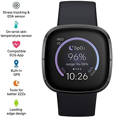 Fitbit Sense Advanced Smartwatch with Tools for Heart Health, Stress Management & Skin Temperature Trends, Carbon/Graphite, One Size (S & L Bands Included) WeeklyReviewer