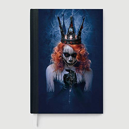 Casebound Hardcover Notebook,Queen,Case Bound Notebook,Queen of Death Scary Body Art Halloween Evil Face Bizarre Make Up Zombie,96 Ruled Sheets,A5/8.24x5.73 in