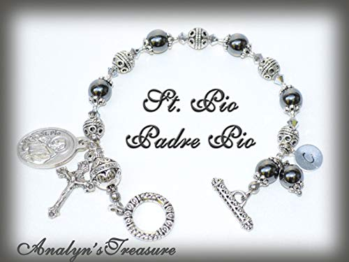 St. Pio, Padre Pio Rosary Bracelet in Hematite, St. Pio Bracelet, St. Pio Charm, Customize Your Own Bracelet