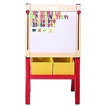 3 in 1 Adjustable Art Easel w/ Magnetic Whiteboard & Blackboard, Dual Storage Bins and Magnetic Letters + Numbers