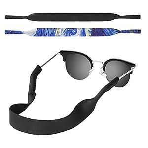 MoKo Neoprene Eyewear Retainer, [2 Pack] Universal Fit No Tail Sports Sunglasses Retainer, Sunglass Strap Safety Glasses Holder for Kids, Men, Women - Black & Starry Night