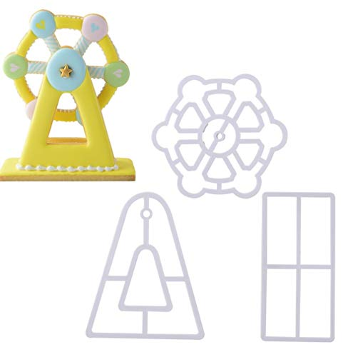 Ferris Wheel Fondant Embossing Mold By Garloy,3 Pcs Impression Cookie Cutter Set, Biscuit Molds With Different Patterns Embossed Design For Fondant Cupcake Wedding Cake ()