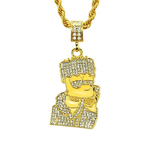 (MKHDD Personality Rap Unisex Gold Plated Chain Iced Out Simpson Pendant Necklace Cubic Zircon for Men Punk)