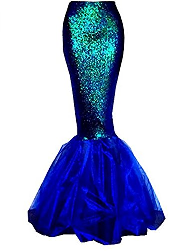 GOODBEE Womens Ladies Halloween Costume Sexy Cosplay Shiny Mermaid Maxi Long Skirts (S-2XL) (M, (Ladies Mermaid Costume)