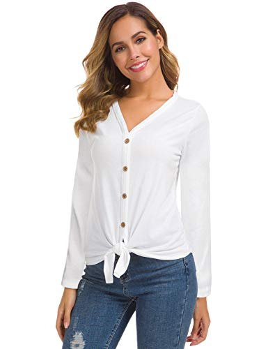 Women's Loose Tie Front Button Down Shirts Long Sleeve Casual Blouse Tops White L