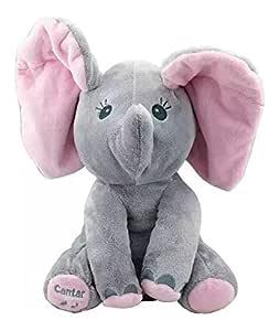 Elefante Pelúcia Musical Mexe Orelhas Cinza Bbr Toys