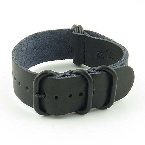 StrapsCo Leather Nato Strap Watch Band with Matte Black Rings