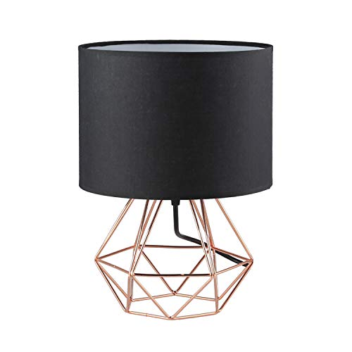 2X Modern Vintage Style Table Lamps - FRIDEKO Ecopower Minimalist Bedside Lamp Night Light Hollowed Out Cage Base with Fabric Shade Desk Lighting Fixture for Bedroom Living Kids Room, Black-Rose Gold (Nightstand Rose Gold)