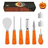 Abell Pumpkin Carving Kit for Family 6 Easy Halloween Pumpkin Carving Tools Set 2 LED Candles