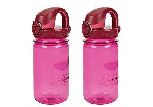Nalgene OTF Kids / Children's, Plain Pink 12oz Water Bottle - Pink and Red Cap - 2 Pack 3 Inches in Diameter By 7.5 Inches Tall.