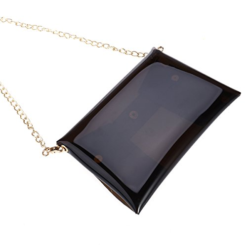 Tinksky Crossbody borsa singolo sacchetto di spalla color caramella trasparente borsa da spiaggia con la catena lunga (Nero)