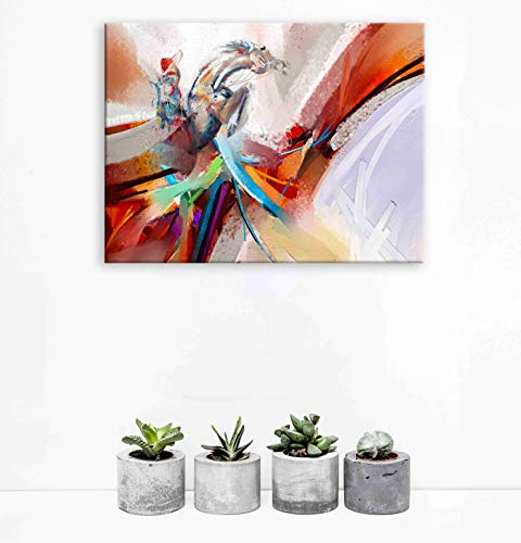 Family Wall Decor of Modern Inspirational Wall Art, Room Wall Pictures with Waterproof Abstract Horse Pictures, Office Wall Decor by Original Motivational Wall Art, Wood Inside Framed ( 12x16 )