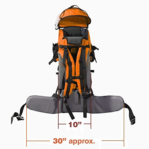 Clevr Cross Country Baby Backpack Carrier with Stand and Sun Visor Shade Child Kid Toddler, Orange, Upgraded Foot Straps | Lightweight - 5lbs