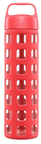 Ello Pure BPA-Free Glass Water Bottle with Lid, Coral Squares, 20 oz.