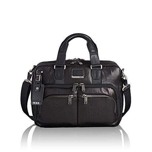 any Slim Commuter Leather Brief Briefcase, Black, 14 Inch Computer Bag for Men and Women ()