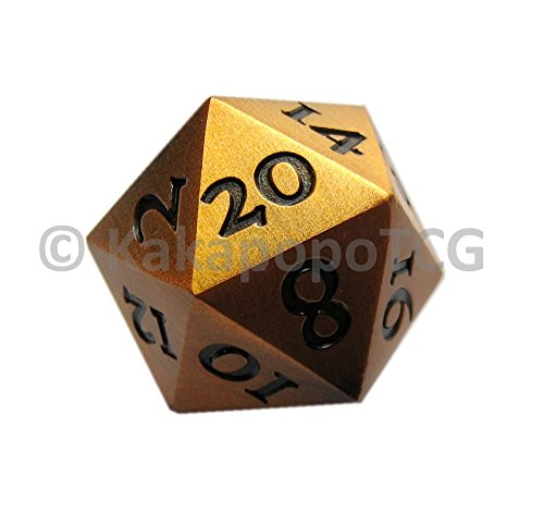 Extra Dice - D20-ST-GD Extra Large Solid Metal D20 Standard Dice in Gold Finish 20 face Extra Heavy DND Dice