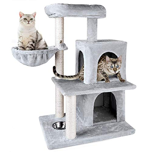 ZNWIYE Multi-Level Cat Tree with Feeder Bowl, Sisal-Covered Scratching Posts, Basket and 2 Condos, Activity Centre Cat Tower Furniture (Light Gray)