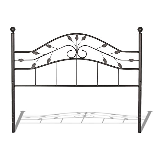Fashion Bed Group Metal Headboard - Leggett & Platt Sycamore Metal Headboard Panel with Leaf Pattern Design and Round Final Posts, Hammered Copper Finish, Full