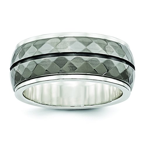 Black Titanium And Sterling Silver Inlay Black Stripe Ring Size 10