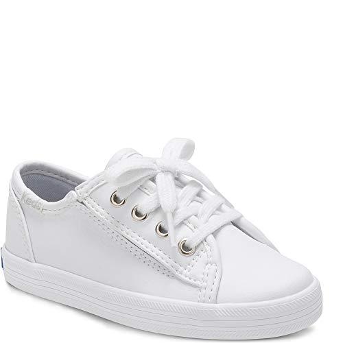 Keds Girls' Kickstart Core Jr. Sneaker, White Leather, 8 M US Toddler