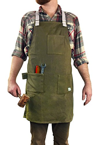 H&O All-Purpose Work Apron : Durable Waxed Canvas with Cross-Back Shoulder Straps | 3 Large Pockets | Tool Loop | Fully Adjustable Repellent Heavy Duty Tool Apron - by H&O Trading Co. by Hop & Olive