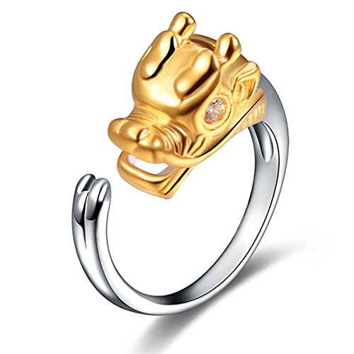Ztuo Women 925 Sterling Silver Zircon Chinese Zodiac Animal Dragon Symbol Logo Sign Ring Band Gift (Chinese Zodiac Dragon Symbol)