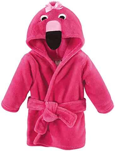 Hudson Baby Unisex Baby Plush Animal Face Robe, Flamingo, One Size