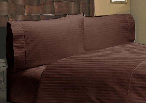 """UPC 888099590080, 400 Thread Count 1 PC Fitted Sheet 100% Egyptian Cotton Stripe Choclate Twin XL 23"""" Deep Pocket"""