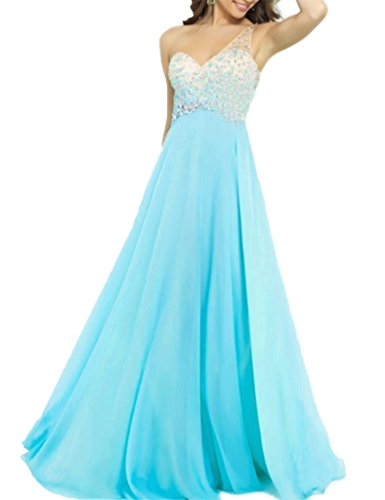 Un Robes Épaule De Bal En Mousseline De Soie Perlée Longue Bleu Ciel De Robes De Graduation Des Femmes Angela