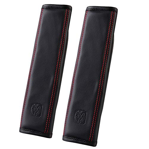 U&M 2 pcs Soft Leather Seat Belt Covers, Seatbelt Shoulder Strap Pad for Car, Truck, SUV, Airplane,Carmera Backpack Straps - Genuine Leather (Black) (Seat Pad Belt Strap Leather)