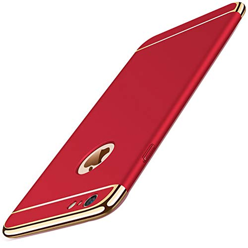 (MBAPPE iPhone 6 Case, iPhone 6S Case, 3 in 1 Thin Plating Shockproof Hard Cover for Apple iPhone 6/6S (Red))