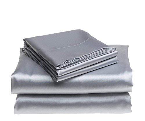 Bedding Emporium 100% Pure Silk Satin Sheet Set 7pcs, Silk Fitted Sheet 15'' Deep Pocket,Silk Flat Sheet,Silk Duvet Cover & Pillowcases Set !!! King, Silver Grey