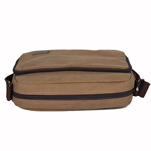 Uomini E Donne Tela Di Canapa Dell'annata Spalla Cartella Spalla Tote Sling Multifunzionale Bag,Brown-OneSize