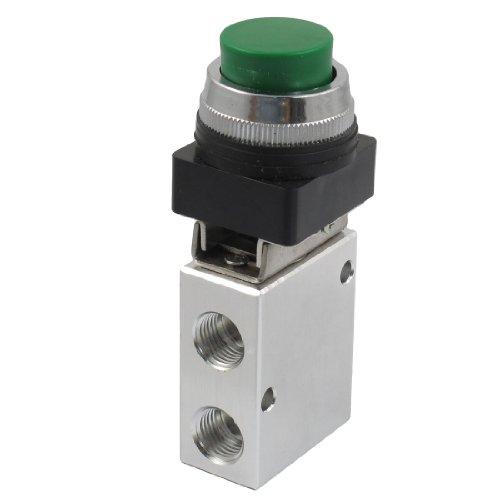 m Thread 2 Position 3 Way Green Push Button Air Mechanical Valve ()