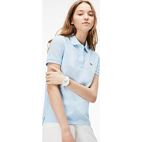 Lacoste Women's Classic Fit Short Sleeve Soft Cotton Petit Piqué Polo, Rill Light Blue, (Lacoste Crocodile Logo)